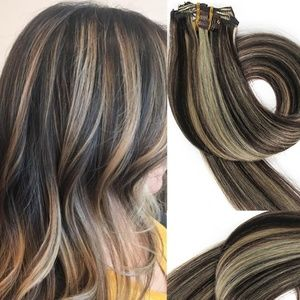 "18"" Human Hair Clip in Extensions 70 Grams #2/613"